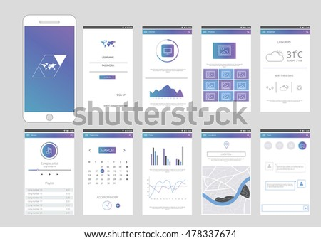 Mobile Application Interface Design Infographic Elements Stock ...