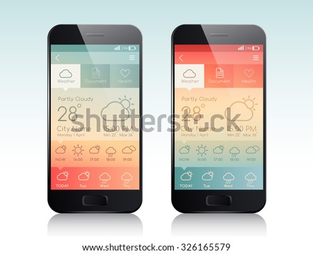 Mobile Application Interface : Weather Forecast : Vector Illustration - stock vector
