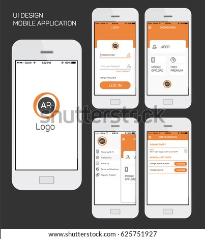 Mobile Application UI Interface Design Vector Stock Vector 625751927 ...