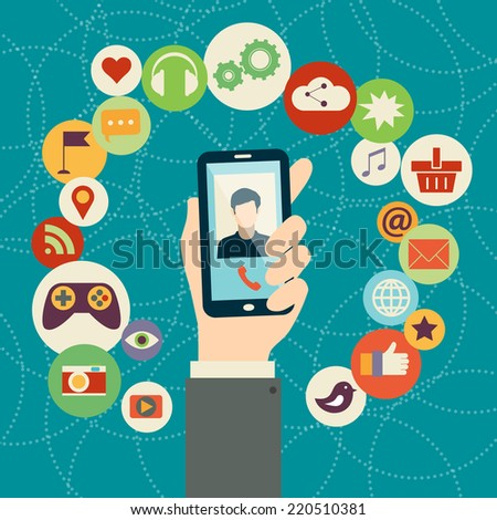 Mobile applications concept.  Flat design vector illustration. Human hand with mobile phone and interface icons