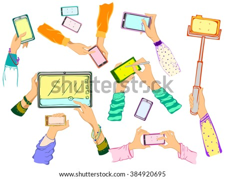 Mobile applications concept. Hand drawn vector Hands with Phones and tablet. Group of hands with cell phones. Taking selfie pictures, speaking, touch the buttons. Woman hands holding smart phones. - stock vector