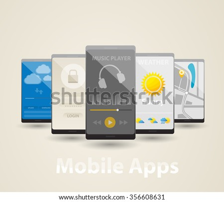 Mobile Apps. Cartoon illustration of mobile phone with apps.  Isolated objects. - stock vector