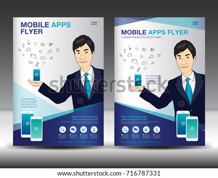 Mobile Apps Flyer Template Business Brochure Stock Vector