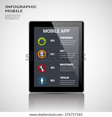 Mobile apps information infographic template. - stock vector