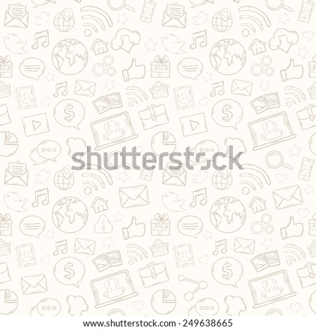 Mobile apps pattern with music,chat,gallery,speaking bubble,email,magnifying glass,shopping,search,notebook,laptop,cloud,wireless,hand - stock vector