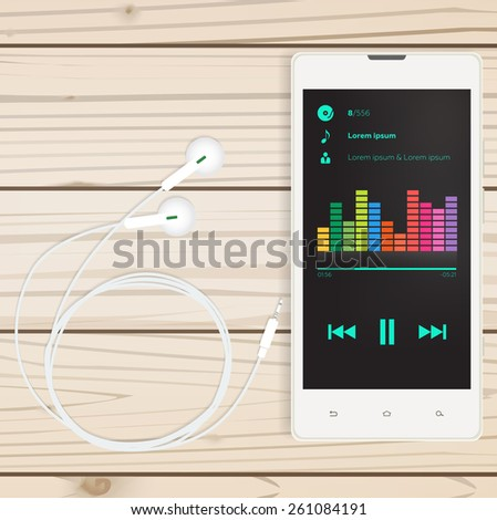 Mobile audio app, mobile on a wooden table, vector for business - stock vector