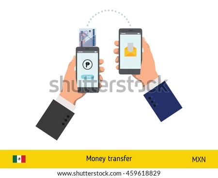 Mobile banking concept. Peso banknote. Transferring Money vector illustration - stock vector