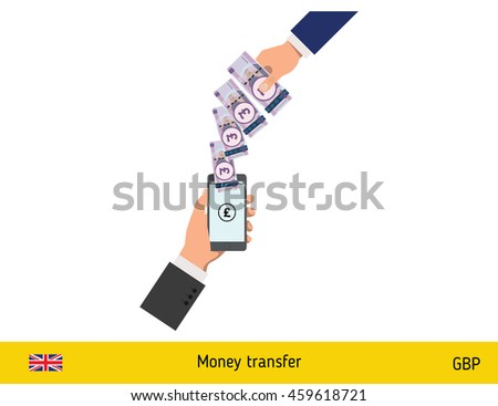 Mobile banking concept. Pound banknote. Transferring Money vector illustration - stock vector