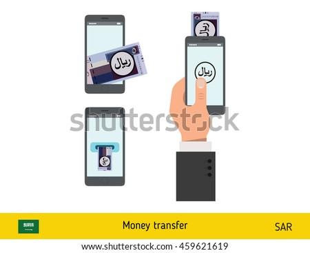 Mobile banking concept. Riyal banknote. Transferring Money vector illustration - stock vector