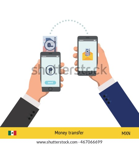 Mobile banking concept. Won banknote. Transferring Money vector illustration