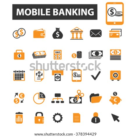 mobile banking icons, mobile banking logo, online banking icons vector, online banking flat illustration concept, online banking logo, online banking symbols set, payment, atm, internet banking, bank - stock vector