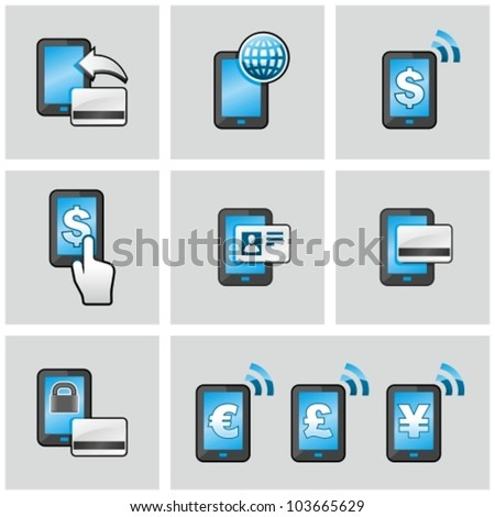 Mobile banking icons set. Pay by mobile. E-commerce. - stock vector