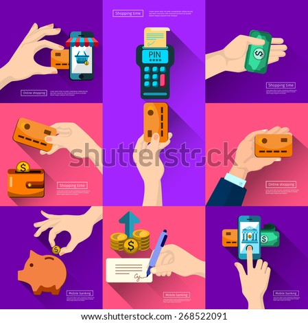 Mobile banking. Icons shop online, business icons in flat design. App icons, web ideas business connection and relations. Handshake, banking and e-business,  iPhone illustration. piggy  - stock vector