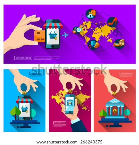 Mobile banking. leisure, Icons shop online, business icons flat design. App icons, web ideas network page, virtual shopping, credit card, - stock vector