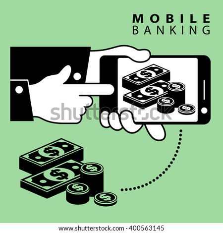 Mobile banking. Phone device and dollar cash. business icon, money for business, businessman symbol, money sign, saving concept. Vector illustration - stock vector
