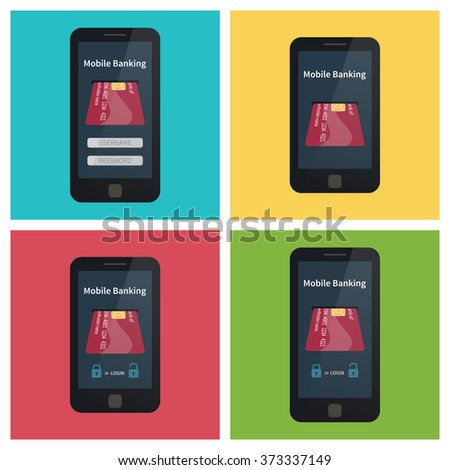 Mobile banking, set of 4 smartphones with card. Flat vector illustration - stock vector