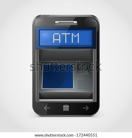 mobile banking vector icon xxl - stock vector