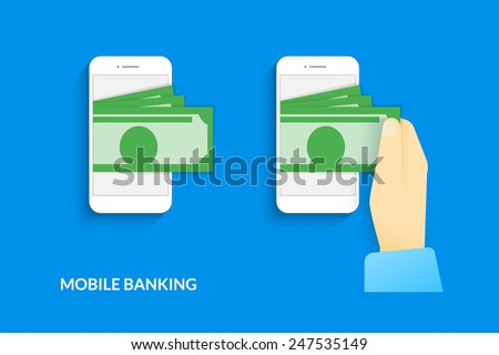 Mobile banking. Vector illustration of  human hand  withdraws cash from his smartphone - stock vector