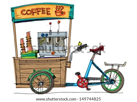 mobile bicycle based cafe - cartoon - stock vector