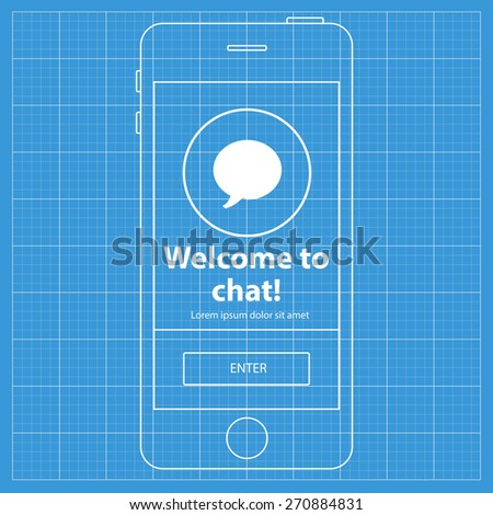 Mobile blueprint wireframe app screen welcome vector de mobile blueprint wireframe app screen welcome to chat screen which can be used as a malvernweather