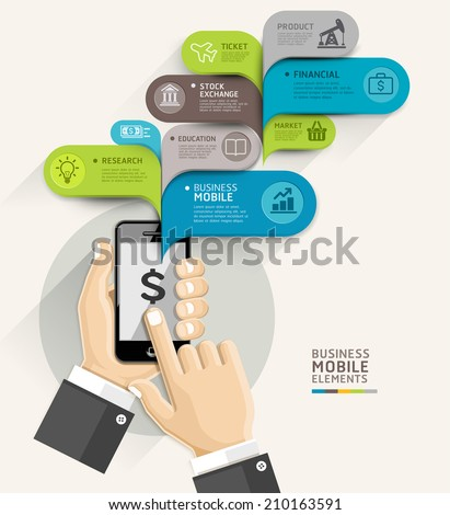 Mobile business bubble speech template style. Vector illustration. can be used for workflow layout, diagram, number options, step up options, web design, banner template, infographic. - stock vector