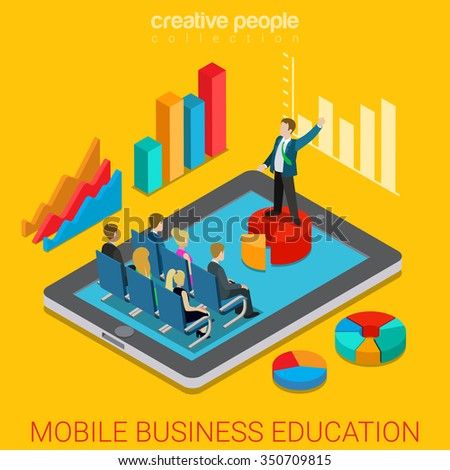 Mobile business education online course flat 3d isometry isometric concept web vector illustration. Businessman teacher coach pie chart pedestal indicator graphic in class. Creative people collection - stock vector