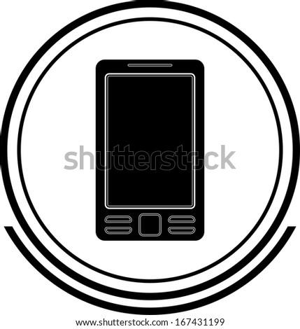 Mobile button black - stock vector