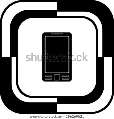 Mobile button mosaic square - stock vector