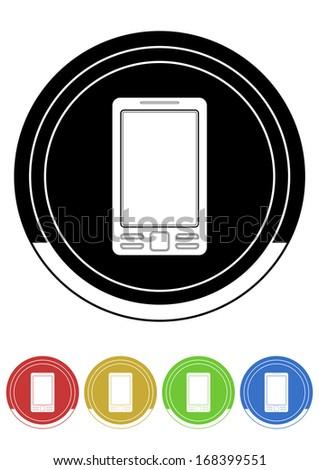 Mobile button retro colors - stock vector
