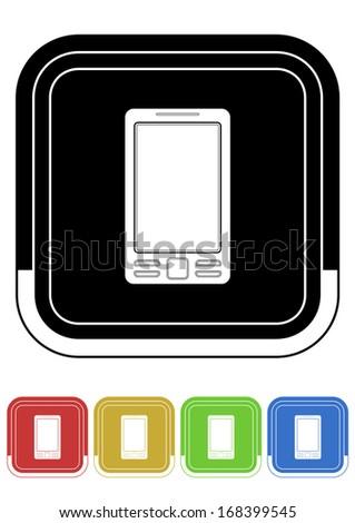 Mobile button retro colors square - stock vector