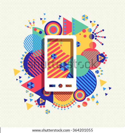 Mobile cell phone icon app poster illustration with colorful vibrant geometry shapes background. Social media concept. EPS10 vector. - stock vector