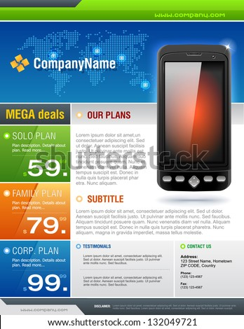 Mobile Cell Smart Phone Telecom Provider Flyer vector - stock vector