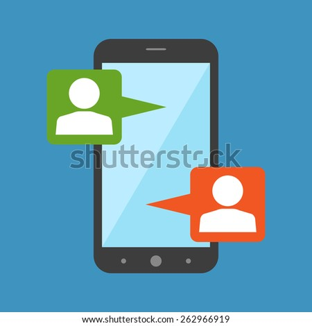 Mobile chat, modern social interaction concept. Flat design stylish. Isolated on color background - stock vector