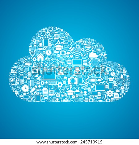 Mobile cloud connection - stock vector