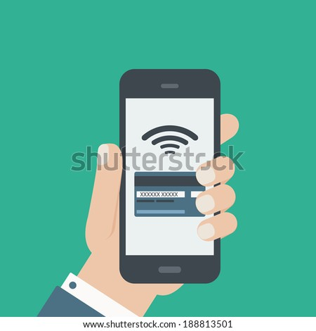 mobile credit card payment hand holding phone flat design - stock vector