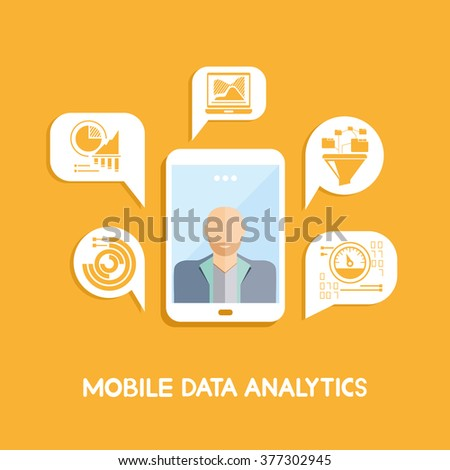 mobile data analytics - stock vector