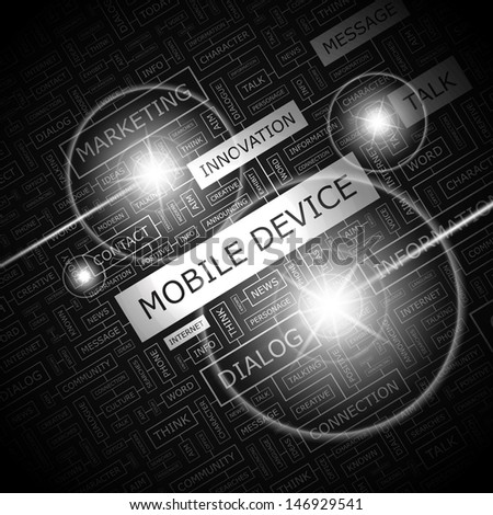 MOBILE DEVICE. Concept vector illustration. Word cloud with related tags and terms. Graphic tag collection. Wordcloud collage.
