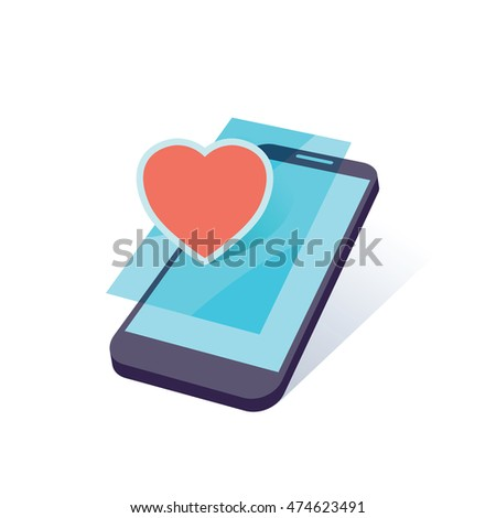 mobile device with heart symbol vector illustration
