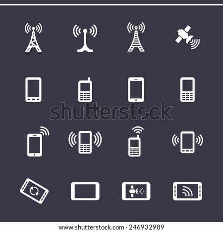 Mobile devices and wireless technology. Vector icons - stock vector