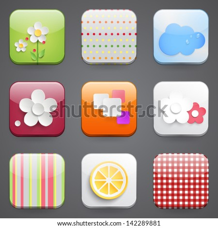 Mobile devices apps icons set. Vector illustration - stock vector