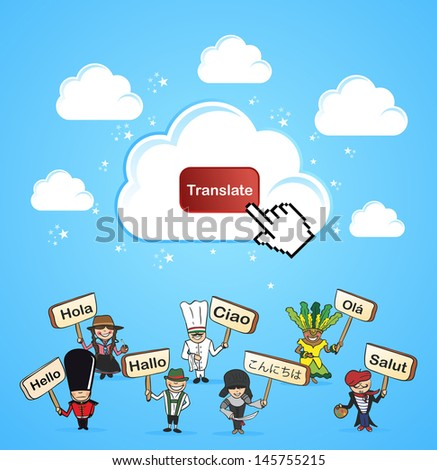 Mobile devices internet translation software application concept. Vector illustration layered for easy editing. - stock vector