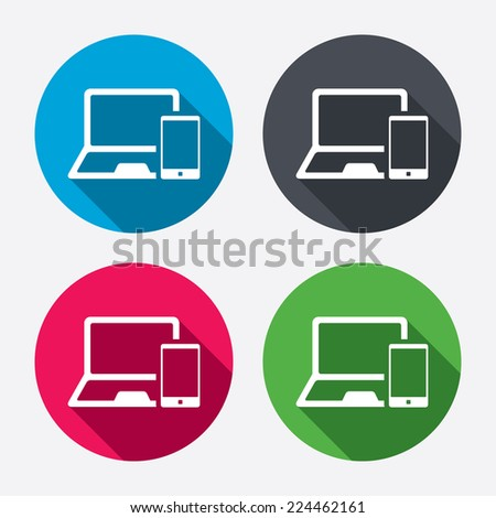 Mobile devices sign icon. Notebook with smartphone symbol. Circle buttons with long shadow. 4 icons set. Vector - stock vector