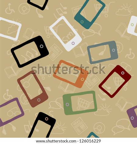 Mobile Devices, Smartphone,Seamless Pattern,Vintage Background - stock vector