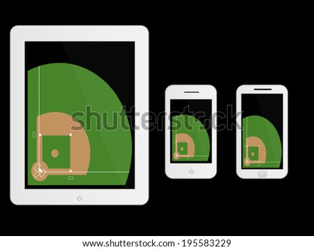 Mobile Devices with Baseball Field White - stock vector