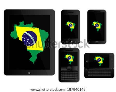 Mobile Devices with Brazilian Map Black