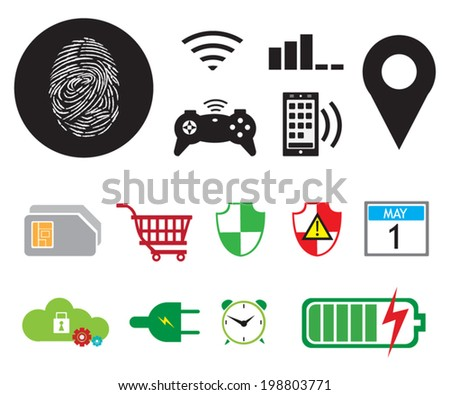Mobile Digital Icons collection vector - stock vector