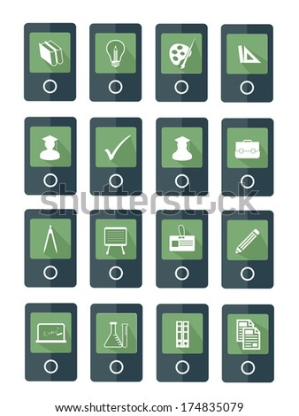 Mobile Education icons,Green version,vector - stock vector