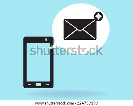 mobile email - stock vector