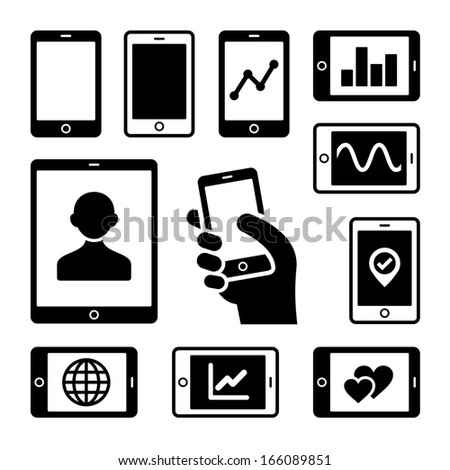 Mobile gadgets with business diagrams icons set. Vector. - stock vector