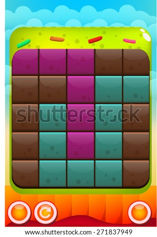 Mobile Game Template - Connect Squares. Vector - stock vector